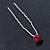 3pcs Bridal/ Wedding/ Prom/ Party Fuchsia Crystal Hair Pins In Silver Tone - 70mm L - view 7