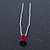 Bridal/ Wedding/ Prom/ Party Single Fuchsia Crystal Hair Pin In Silver Tone - 70mm L - view 4