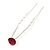 Bridal/ Wedding/ Prom/ Party Single Fuchsia Crystal Hair Pin In Silver Tone - 70mm L - view 7