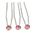 3pcs Bridal/ Wedding/ Prom/ Party Pink Crystal Hair Pins In Silver Tone - 70mm L