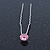 Bridal/ Wedding/ Prom/ Party Single Pink Crystal Hair Pin In Silver Tone - 70mm L - view 3