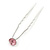 Bridal/ Wedding/ Prom/ Party Single Pink Crystal Hair Pin In Silver Tone - 70mm L