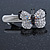 Clear/ Black Austrian Crystal Butterfly Hair Beak Clip/ Concord Clip In Silver Tone - 37mm L - view 5