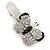 Clear/ Black Austrian Crystal Butterfly Hair Beak Clip/ Concord Clip In Silver Tone - 37mm L - view 3