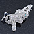 Clear/ AB Crystal 'Bolognese' Dog Hair Beak Clip/ Concord Clip In Silver Tone - 55mm L - view 5