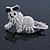 Clear/ AB Crystal 'Bolognese' Dog Hair Beak Clip/ Concord Clip In Silver Tone - 55mm L - view 2