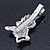 Clear/ AB Crystal 'Bolognese' Dog Hair Beak Clip/ Concord Clip In Silver Tone - 55mm L - view 4