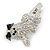 Clear/ AB Crystal 'Bolognese' Dog Hair Beak Clip/ Concord Clip In Silver Tone - 55mm L - view 7