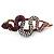 Violet/ Deep Purple/ Ab Coloured Austrian Crystal Snake Hair Beak Clip/ Concord Clip In Bronze Tone - 65mm L - view 5