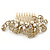 Vintage Inspired Bridal/ Wedding/ Prom/ Party Gold Tone Clear Crystal, Simulated Pearl 'Feather' Side Hair Comb - 100mm - view 8