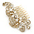 Vintage Inspired Bridal/ Wedding/ Prom/ Party Gold Tone Clear Crystal, Simulated Pearl 'Feather' Side Hair Comb - 100mm - view 9