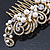 Vintage Inspired Bridal/ Wedding/ Prom/ Party Gold Tone Clear Crystal, Simulated Pearl 'Feather' Side Hair Comb - 100mm - view 6