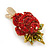 Red/ Green Austrian Crystal Rose Hair Beak Clip/ Concord Clip In Gold Plating - 45mm L - view 3