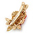 Red/ Green Austrian Crystal Rose Hair Beak Clip/ Concord Clip In Gold Plating - 45mm L - view 4