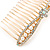 Bridal/ Wedding/ Prom/ Party Gold Plated Clear Crystal, Light Cream Faux Pearl Bow Hair Comb - 80mm - view 7