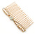 Bridal/ Wedding/ Prom/ Party Gold Plated Clear Crystal, Light Cream Faux Pearl Bow Hair Comb - 80mm - view 8