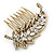 Vintage Inspired Clear Austrian Crystal 'Leaf' Side Hair Comb In Gold Tone - 70mm