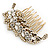 Vintage Inspired Clear Austrian Crystal 'Leaf' Side Hair Comb In Gold Tone - 70mm - view 7