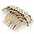 Vintage Inspired Clear Austrian Crystal 'Leaf' Side Hair Comb In Gold Tone - 70mm - view 6