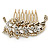 Vintage Inspired Clear Austrian Crystal 'Leaf' Side Hair Comb In Gold Tone - 70mm - view 4