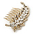 Vintage Inspired Clear Austrian Crystal 'Leaf' Side Hair Comb In Gold Tone - 70mm - view 8