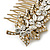 Vintage Inspired Clear Austrian Crystal 'Leaf' Side Hair Comb In Gold Tone - 70mm - view 5