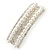 Bridal/ Wedding/ Prom Silver Tone Simulated Pearl Diamante Barrette Hair Clip Grip - 85mm Across - view 10