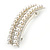Bridal/ Wedding/ Prom Silver Tone Simulated Pearl Diamante Barrette Hair Clip Grip - 85mm Across - view 7
