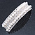 Bridal/ Wedding/ Prom Silver Tone Simulated Pearl Diamante Barrette Hair Clip Grip - 85mm Across - view 1