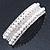 Bridal/ Wedding/ Prom Silver Tone Simulated Pearl Diamante Barrette Hair Clip Grip - 85mm Across