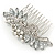 Bridal/ Wedding/ Prom/ Party Rhodium Plated CZ, Faux Pearl Floral Side Hair Comb - 100mm - view 4