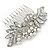 Bridal/ Wedding/ Prom/ Party Rhodium Plated CZ, Faux Pearl Floral Side Hair Comb - 100mm - view 7