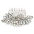 Bridal/ Wedding/ Prom/ Party Rhodium Plated CZ, Faux Pearl Floral Side Hair Comb - 100mm - view 8