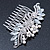 Bridal/ Wedding/ Prom/ Party Rhodium Plated CZ, Faux Pearl Floral Side Hair Comb - 100mm - view 9