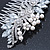 Bridal/ Wedding/ Prom/ Party Rhodium Plated CZ, Faux Pearl Floral Side Hair Comb - 100mm - view 5