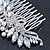 Bridal/ Wedding/ Prom/ Party Rhodium Plated CZ, Faux Pearl Floral Side Hair Comb - 100mm - view 6