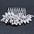 Bridal/ Wedding/ Prom/ Party Rhodium Plated CZ, Faux Pearl Floral Side Hair Comb - 100mm - view 3
