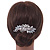Bridal/ Wedding/ Prom/ Party Rhodium Plated CZ, Faux Pearl Floral Side Hair Comb - 100mm - view 2