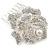 Bridal/ Wedding/ Prom/ Party Silver Tone Clear Austrian Crystal Rose Side Hair Comb - 60mm - view 4