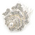 Bridal/ Wedding/ Prom/ Party Silver Tone Clear Austrian Crystal Rose Side Hair Comb - 60mm - view 7