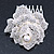 Bridal/ Wedding/ Prom/ Party Silver Tone Clear Austrian Crystal Rose Side Hair Comb - 60mm - view 9