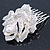 Bridal/ Wedding/ Prom/ Party Silver Tone Clear Austrian Crystal Rose Side Hair Comb - 60mm - view 5