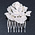 Bridal/ Wedding/ Prom/ Party Silver Tone Clear Austrian Crystal Rose Side Hair Comb - 60mm - view 6