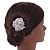 Bridal/ Wedding/ Prom/ Party Silver Tone Clear Austrian Crystal Rose Side Hair Comb - 60mm - view 3