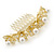 Bridal/ Wedding/ Prom/ Party Gold Plated Clear Austrian Crystal, Glass Pearl Lily Hair Comb - 100mm - view 7