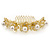 Bridal/ Wedding/ Prom/ Party Gold Plated Clear Austrian Crystal, Glass Pearl Lily Hair Comb - 100mm - view 8