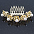 Bridal/ Wedding/ Prom/ Party Gold Plated Clear Austrian Crystal, Glass Pearl Lily Hair Comb - 100mm - view 9