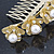 Bridal/ Wedding/ Prom/ Party Gold Plated Clear Austrian Crystal, Glass Pearl Lily Hair Comb - 100mm - view 5
