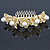 Bridal/ Wedding/ Prom/ Party Gold Plated Clear Austrian Crystal, Glass Pearl Lily Hair Comb - 100mm - view 3