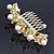 Bridal/ Wedding/ Prom/ Party Gold Plated Clear Austrian Crystal, Glass Pearl Lily Hair Comb - 100mm - view 6
